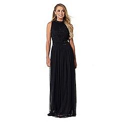 Sistaglam - Black 'debbie' embroidered high neck maxi dress