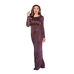 Jessica Wright for Sistaglam - Black 'Helen' long sleeve glitter maxi dress.