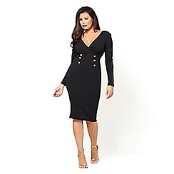 Jessica Wright for Sistaglam - Black 'Raissa' button detail long sleeve v-neck bodycon dress