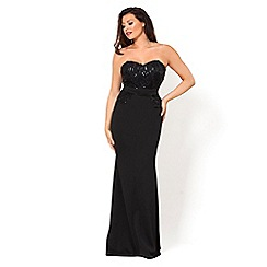 Jessica Wright for Sistaglam - VIP black sequin lace bandeau styled maxi dress