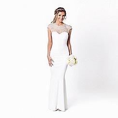 Sistaglam - White 'Kadia' jewelled neckline bodycon wedding dress