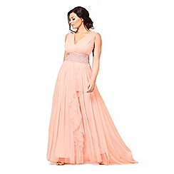 Sistaglam - Blush 'Alma' v-neck mesh maxi bridesmaid dress