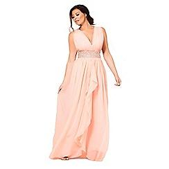 Sistaglam - Nude 'abrianna' chiffon v-neck maxi bridesmaid dress