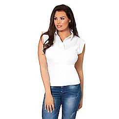 Jessica Wright for Sistaglam - White 'Vikki' bodycon shirt collar top