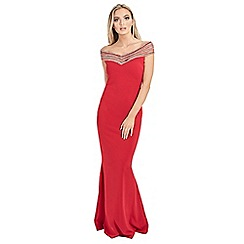Sistaglam - Red 'Milliana' off the shoulder maxi dress