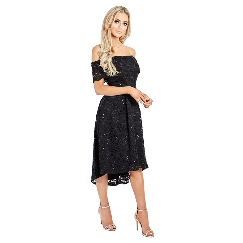 ffffbd69086 Sistaglam Black  Lucie  sequin lace off the shoulder shift dress