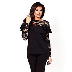 Jessica Wright for Sistaglam - Black 'Phoebe' lace and frill detail top