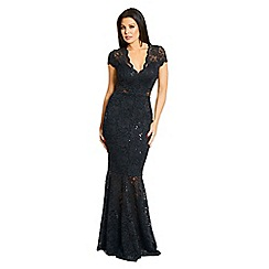 Jessica Wright for Sistaglam - Black 'Kennedy' v neck sequin lace fishtail hem maxi dress