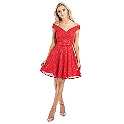 Sistaglam - Red 'Misty' bardot sequin lace prom dress