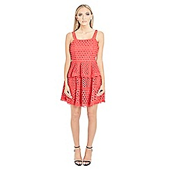Sistaglam - Red 'Valentyna' strappy double teared skater crochet lace dress