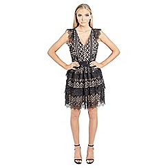 Jessica Wright for Sistaglam - Black 'Junia' v neck tiered crochet lace skater dress