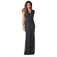 Jessica Wright for Sistaglam - Black 'Becky' sequin maxi dress