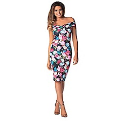Jessica Wright - Pink floral 'Aida' midi bodycon print dress