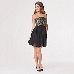 Lipstick Boutique - Black 'Flossy' lace overlay prom dress