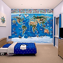 Walltastic - 'Map of the World' wallpaper mural