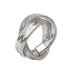 Aurium - Flexi 9 carat  2 row white gold mesh braided ring