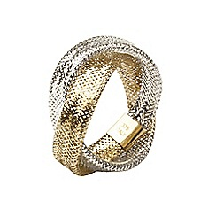 Aurium - Flexi 9 carat  2 row yellow and white gold mesh braided ring