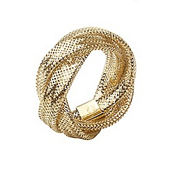 Aurium - Flexi 9 carat  3 row yellow gold mesh braided ring