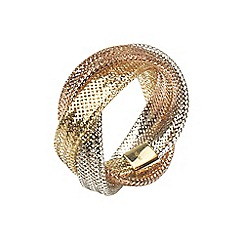 Aurium - Flexi 9 carat  3 row yellow, white and rose gold mesh braided ring