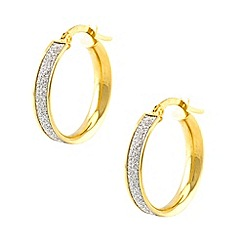 Aurium - Sparkle 9 carat yellow gold medium round sparkling pave effect earrings