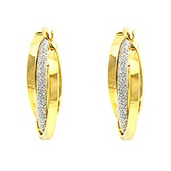 Aurium - Sparkle 9 carat yellow gold medium triple round sparkling pave effect earrings