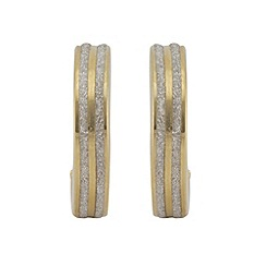 Aurium - Sparkle 9 carat yellow gold medium 2 line sparkling pave effect earrings