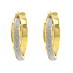 Aurium - Sparkle 9 carat yellow gold medium twin round sparkling pave effect earrings