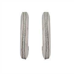 Aurium - Sparkle 9 carat white gold medium oval sparkling pave effect earrings