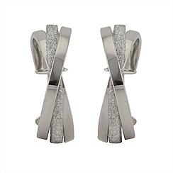 Aurium - Sparkle 9 carat white gold medium triple round sparkling pave effect earrings