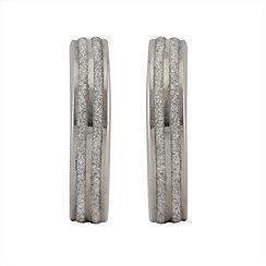 Aurium - Sparkle 9 carat white gold medium 2 line sparkling pave effect earrings