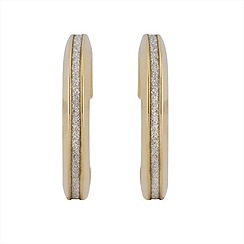 Aurium - Sparkle 9 carat yellow gold medium thin single sparkling pave effect earrings