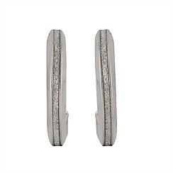 Aurium - Sparkle 9 carat white gold medium thin single sparkling pave effect earrings