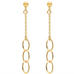 Aurium - 9 carat yellow open and curb link drop earrings