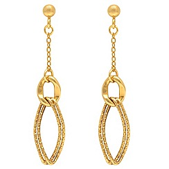 Aurium - 9 carat yellow multi twin open link and curb Gold drop earrings