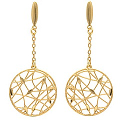 Aurium - 9 carat yellow round openwork drop earrings