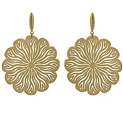 Aurium - 9 carat yellow gold flower openwork drop earrings