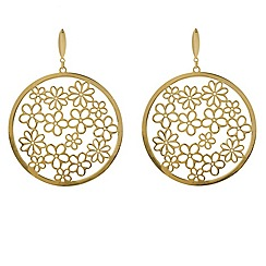 Aurium - 9 carat yellow gold large round openwork drop earrings