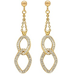 Aurium - 9 carat yellow Gold stone set double link drop earrings