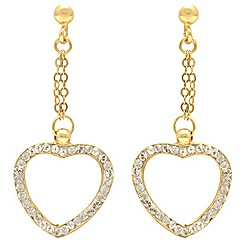 Aurium - 9 carat yellow Gold stone set heart shape drop earrings