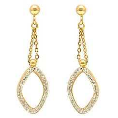 Aurium - 9 carat yellow Gold stone set link shape drop earrings