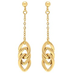 Aurium - 9ct yellow Gold large curb link drop earrings