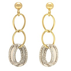 Aurium - 9ct yellow and Twin white Gold  drop earrings