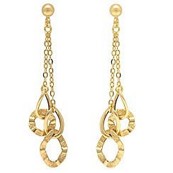 Aurium - 9ct yellow Gold multi open double link drop earrings