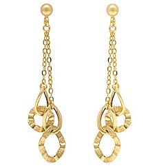 Aurium - 9ct yellow Gold multi open double link drop earrings