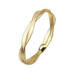 Aurium - Flexi 9 carat 2 row Yellow gold mesh braided bangle