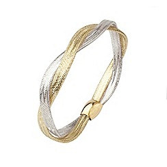 Aurium - Flexi 9 carat 2 row Yellow and white gold mesh braided bangle