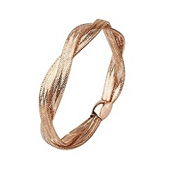 Aurium - Flexi 9 carat 2 row rose gold mesh braided bangle