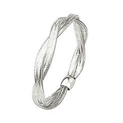 Aurium - Flexi 9 carat 2 row white gold mesh braided bangle