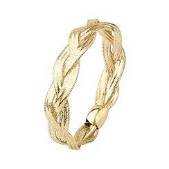 Aurium - Flexi 9 carat 3 row Yellow gold mesh braided bangle