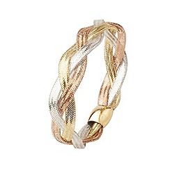 Aurium - Flexi 9 carat 3 row Yellow  white and rose gold mesh braided bangle